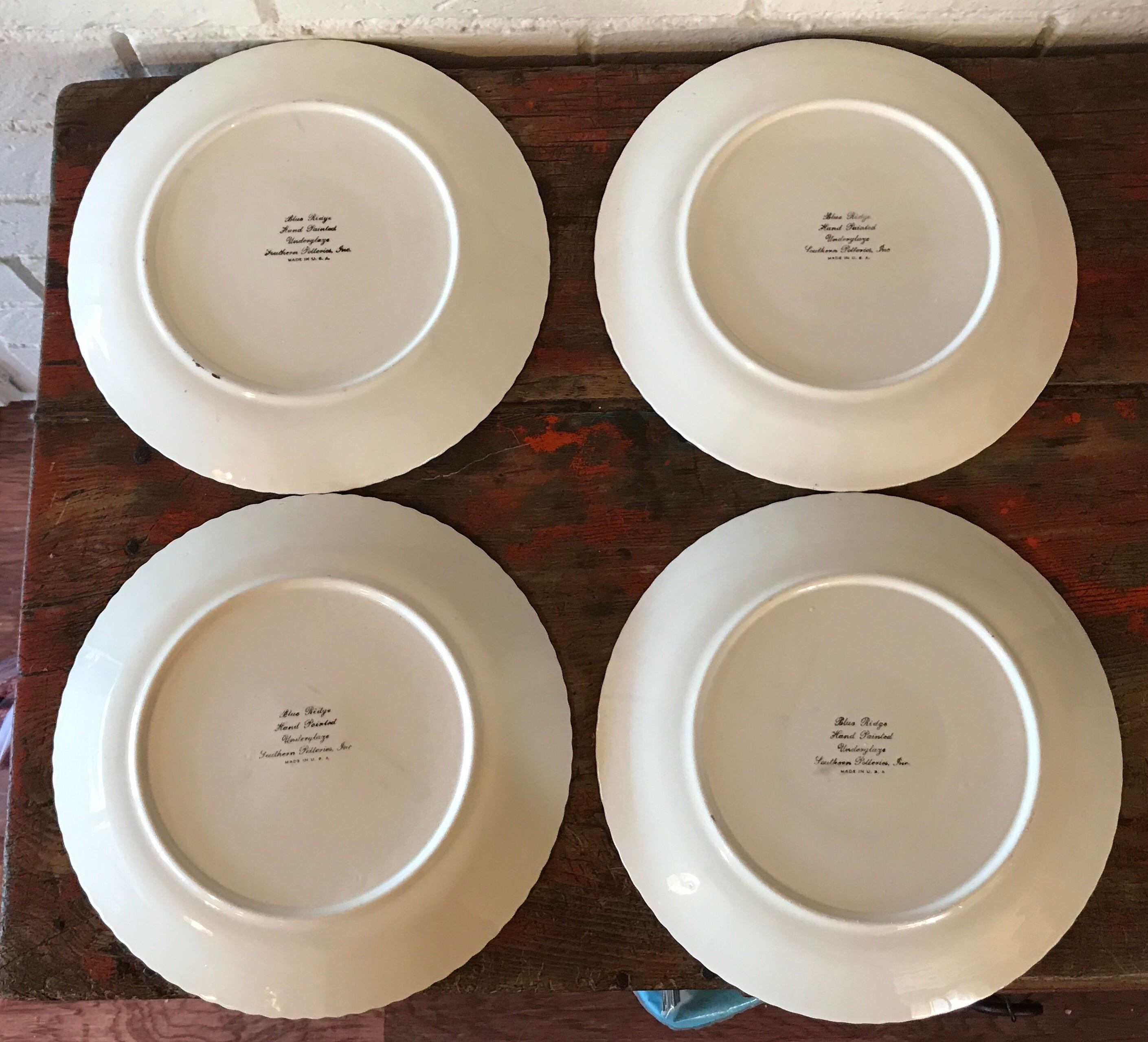 plate hair style vintage painted dinner plates set of 4 chairish 4288