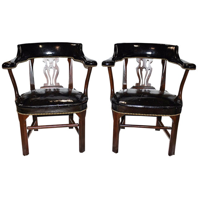 Leather Lyre-Back Lawyer Chairs - Pair - Image 1 of 9