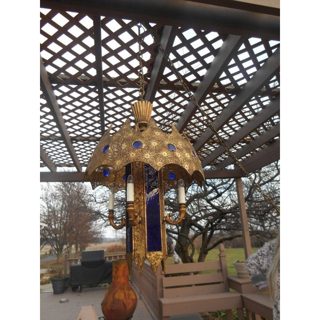 Gothic Style Pierced Metal & Cobalt Hanging Lamp - Image 4 of 6