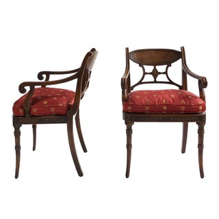 Red & Gold Bee Fabric French Carved Arm Chairs