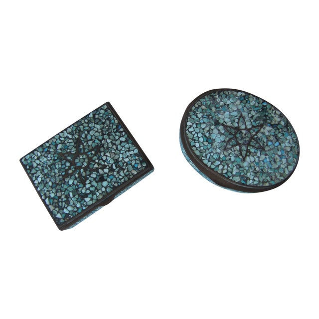 Turquoise Eggshell & Brass Mosaic Boxes - A Pair - Image 1 of 4