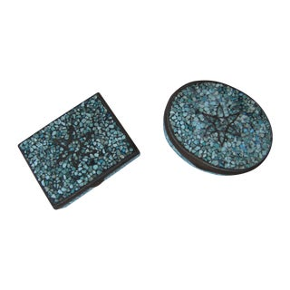 Turquoise Eggshell & Brass Mosaic Boxes - A Pair