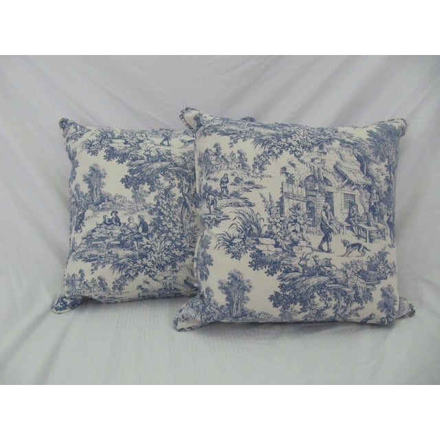 Blue & White Toile De Jouy Pillows - A Pair - Image 6 of 9