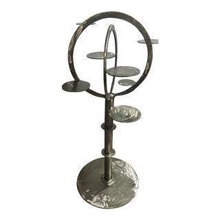 Modern Metal Plant-Stand Sculpture