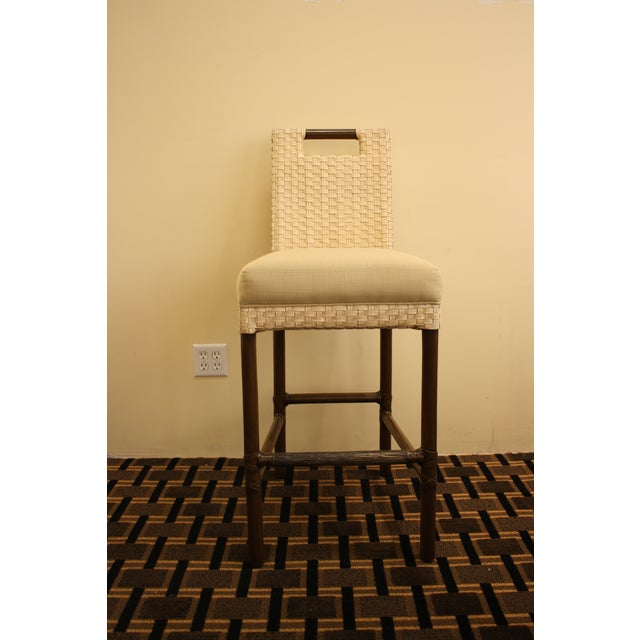 McGuire Thomas Pheasant Woven Leather Bar Stool - Image 2 of 7
