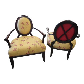 Isenhour Tan & Red Bergere Chairs - A Pair