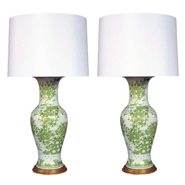 A pair of finely painted Japanese baluster-form porcelain lamps with apple green and gilt decoration - Image 1 of 3