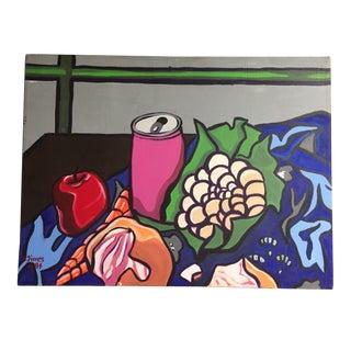 Vintage Pop Art Still Life Signed Painting