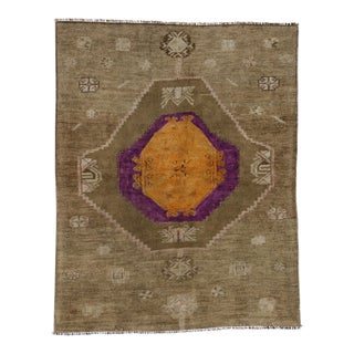 Vintage Turkish Oushak Runner with Modern Contemporary Style, 3'11 x 4'10