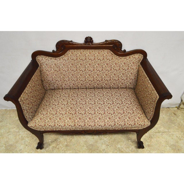 Antique Mahogany 3pc Parlor Set : Settee , Arm Chair , Chair - Image 2 of 11