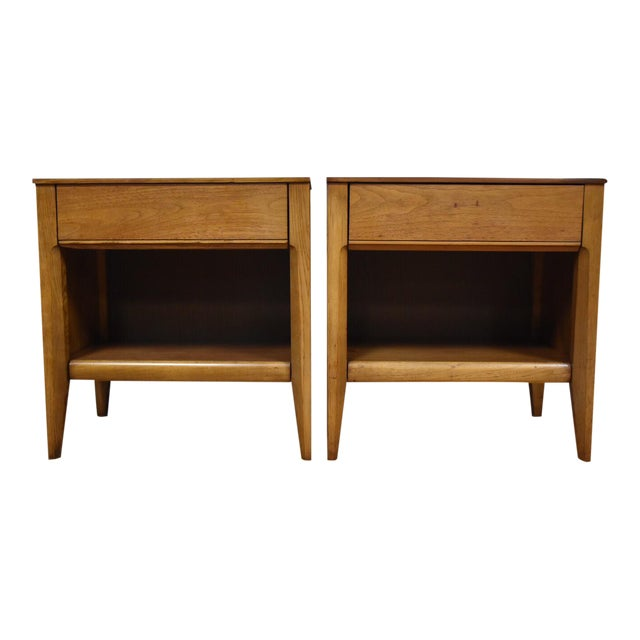 Mid-Century Walnut Nightstands - A Pair - Image 1 of 8
