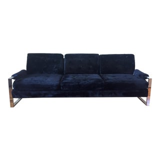 Milo Baughman Style Chrome Flat Bar Sofa