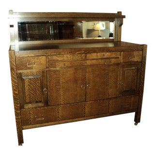 Antique Period Arts & Crafts Mission Style Oak Buffet