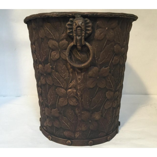 Metal Embossed Bucket with Handles - Image 6 of 6