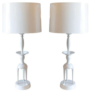 White Powder Coated James Mont Lamps - Pair