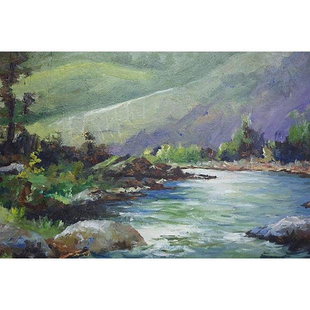 Painting of a River with Green Hills & Trees - Image 4 of 4