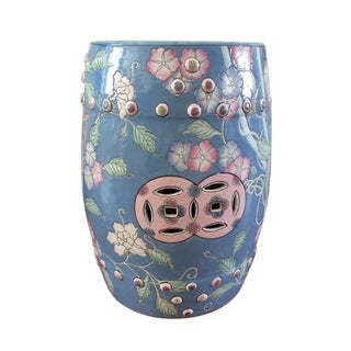 Vintage Blue Floral Chinese Garden Stool