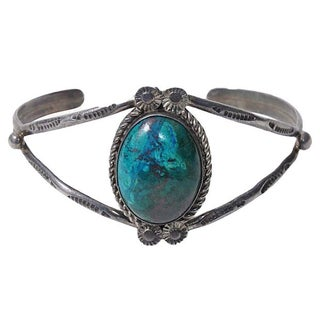 Vintage Taxco Sterling-Set Turquoise Cuff