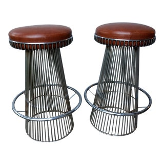 Cy Mann Chrome Bar Stools After Warren Platner - a Pair