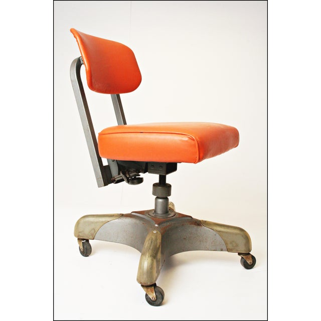 Vintage Orange Industrial Steel Office Chair - Image 3 of 11