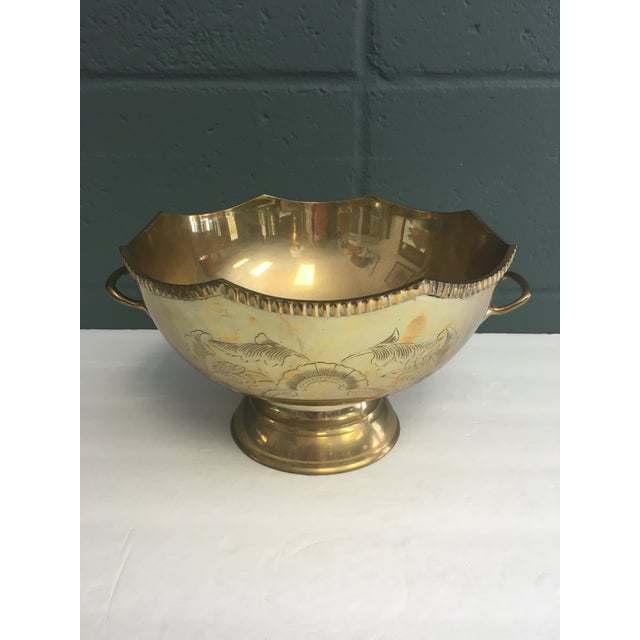 Image of Etched Brass Scalloped Bowl