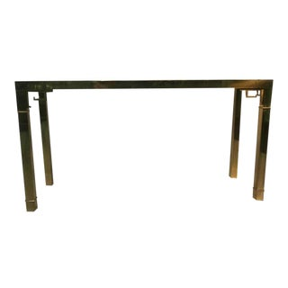 Italian Solid Brass Console Table With Greek Key Design