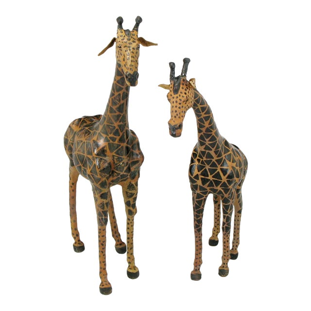 Image of Pair of Leather Giraffe Models