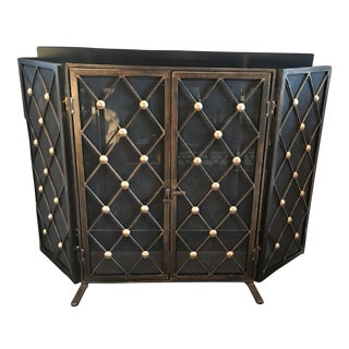 Folding Antique Brass Finish Fireplace Screen
