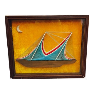 Vintage Nail & Thread Sailboat Art