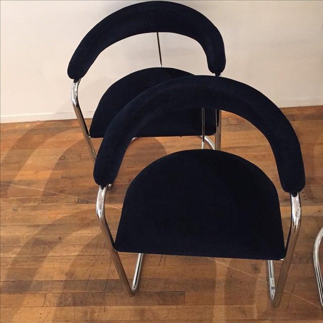 Chrome & Velvet Armchairs - Set of 4 - Image 4 of 7