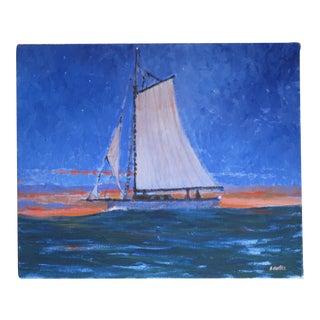 "Alan H. Curtis ""Sloop at Dawn"" Painting"