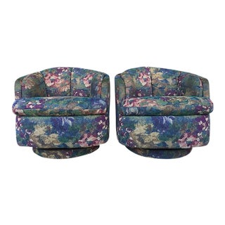 Carson's Mid-Century Upholstered Swivel Club Chairs- A Pair