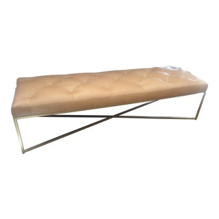 Tan Leather Tufted Bench