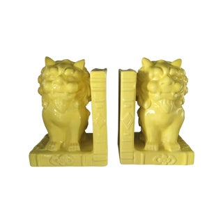 Yellow Foo Dog Guardians Bookends - a Pair