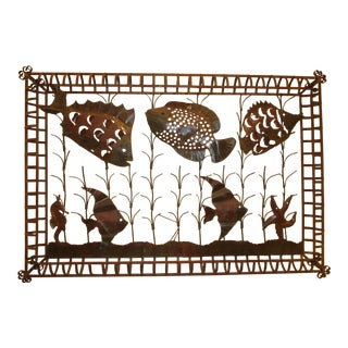 Wrought Iron & Tap Welded Fish Wall Sculpture