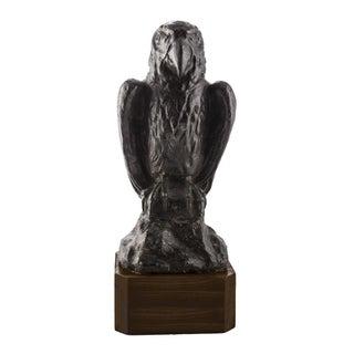 Early 20th C. Solid Lead Falcon Statuette