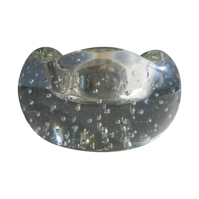 """Vintage Clear Glass """"Bubbles"""" Modern Style Ashtray - Image 1 of 5"""