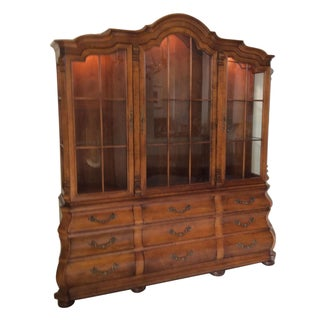 Henredon French Provincial Pecan Display Cabinet