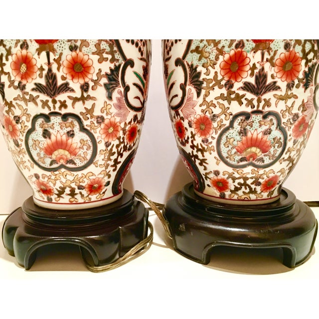 Hand-Painted Porcelain Imari Vase Table Lamps - A Pair - Image 8 of 10