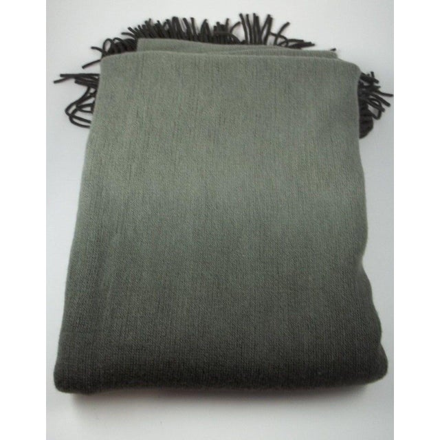 West Elm Ombre Gray Charcoal Fringe Throw - Image 2 of 4