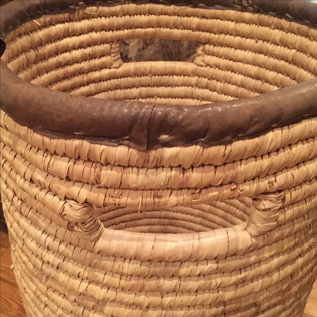 Large French Woven Basket With Leather Rim - Image 6 of 9