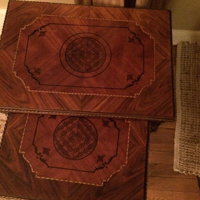 Image of Two Tone Brass & Wood Nesting Tables