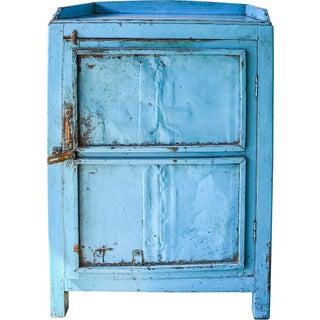 Light Blue Wood Cabinet With Metal Doors