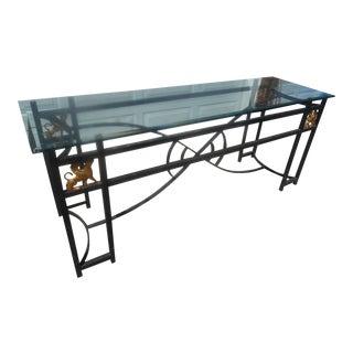 Egyptian Revival Glass & Aluminum Art Deco Console Table