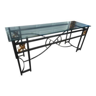 Egyptian Revival Glass & Aluminum Art Deco Console Table