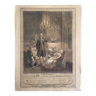 """Antique 1774 Freudenberger """" La Soiree D' Hyver """" Hand Painted French Engraving Art Print"""