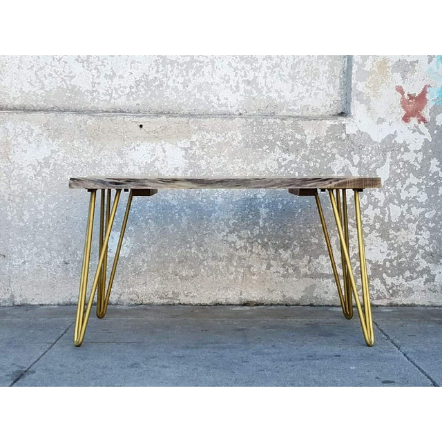 Coffee Table Legs Gold: Solid Acacia Slab Coffee Table On Gold Hairpin Legs