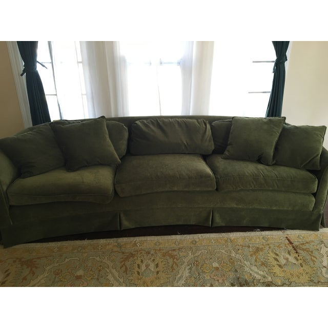 Vintage Green Velvet Curved Back Couch Chairish