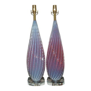 Orchid Opaline Vintage Murano Lamps