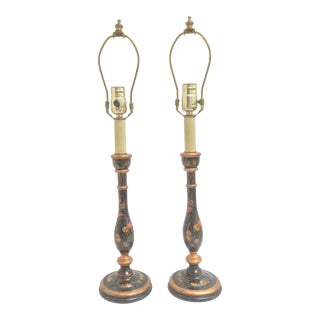 Pair of Painted Wood Candlestick Lamps With Flowers